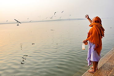 India, Uttar Pradesh, Varanasi, Hindu devotee feeding birds.