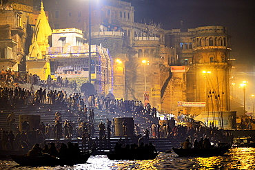 India, Uttar Pradesh, Varanasi, Boatride along the ghats during Dev Deepawali festival.