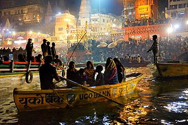India, Uttar Pradesh, Varanasi, Dasashwamedha ghat during Dev Deepawali festival.