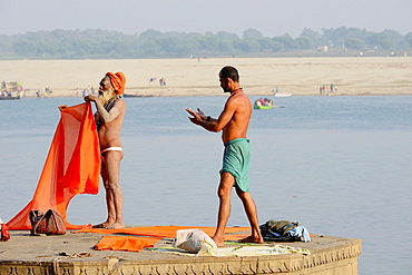 India, Uttar Pradesh, Varanasi, Sadhu (ascetic) and yogi.