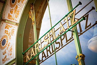 Otto Wagner's Stadtbahn Pavilion in Karlplatz, Vienna, Austria.