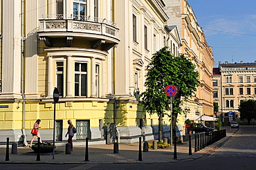 neoclassical buildings in Andreja Pumpura street, Riga, Latvia, Baltic region, Northern Europe.