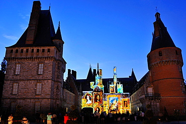 video art projection titled Madame de Maintenon or the Shadow of Sun, by French artist Xavier de Richemont, at Chateau de Maintenon, Eure & Loir department, region Centre, France, Europe.