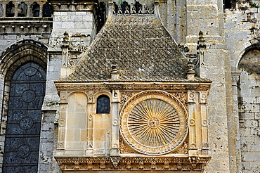 Astronomical clock on the North facade of the Cathedral of Our Lady of Chartres, Chartres, Eure & Loir department, region Centre, France, Europe.