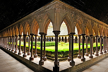 Cloister of the Mont Saint-Michel Abbey, Manche department, Low Normandy region, France, Europe.