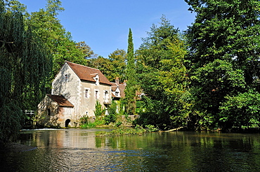 Water mill on the Huisne River bank at Dorceau, Orne department, Lower Normandy region, France, Western Europe.