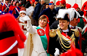 Mugnaia and General, Ivrea Carnival, Italy.