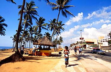 promenade and beach, salvador, bahia, brazil, south america.
