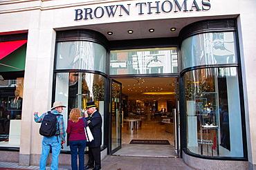 Brown Thomas department store exterior Grafton Street pedestrian street central Dublin Ireland Europe.