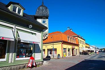 Kuninkaankatu street at Kauppatori the market square old Rauma western Finland northern Europe.