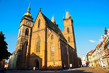 Sv Duch the church of Holy Ghost Velke namesti square old town Hradec Kralove city eastern Bohemia Czech Republic Europe.