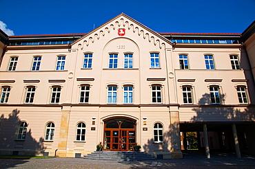 Krajsky urad city council building (1863) Komenskeho namesti square central Pardubice city eastern Bohemia Czech Republic Europe.