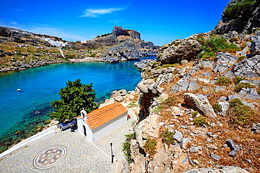 Greece, Dodecanese archipelago, Rhodes island, Lindos, St. Paul beach.