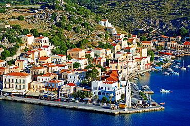 Greece, Dodecanese, Symi island, Gialos harbour.