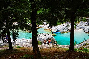 Slovenia, Goriska region, Bovec, Triglav National Park, Velika Korita, Soca river gorge.