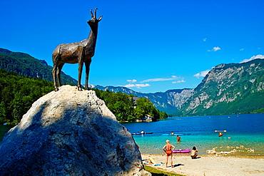 Slovenia, Gorenjska region, Triglav National Park, Bohinj lake, Zlatorog statue.