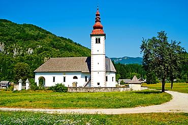 Slovenia, Gorenjska region, Triglav National Park, church near Bohinj lake.