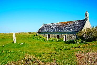 France, Briitany, Finistere, St Guvroc church near Keremma dunes.
