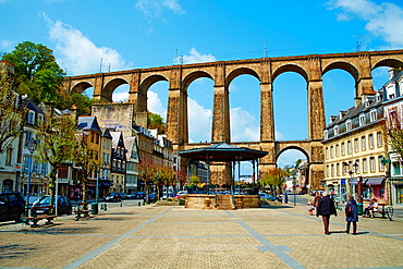 France, Briitany, Finistere, Morlaix, viaduct and city.