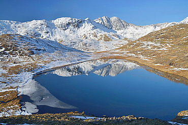 Snowdonia Mountain range reflected in Llyn Teryn.