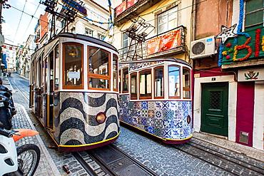 The Bica Funicular, Lisbon, Portugal, Europe.