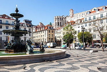 Pedro IV Square, Lisbon, Portugal, Europe.