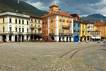 Cobbelstone pavement on the main square Piazza Grande, Locarno,Ticino, Switzerland.