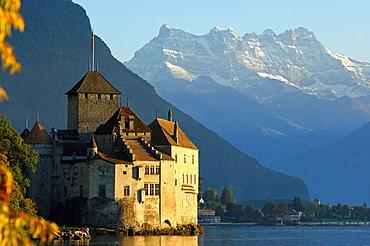 Castle Chillon at Lac Leman and peak Dents du Midi, Montreux, Switzerland.