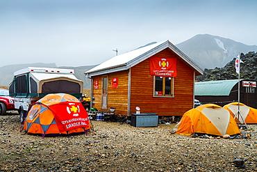Camp site. Landmannalaugar. Highlands. Iceland, Europe.