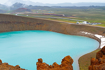 Green lake in Viti crater. Krafla volcanic area. Iceland, Europe.