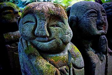 Stone staues at Otagi Nenbutsu ji Temple, Arashiyama Sagano area,Kyoto. Kansai, Japan.