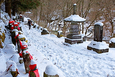 Narabijizo, Bakejizo, jizo stone statues,buddhist guardian deities in Kanmangafuchi Abyss, Nikko, Japan.