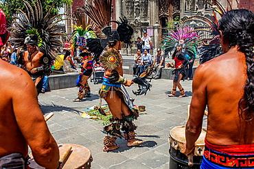 Aztec Dancers Group,Plaza de la Constitucion,El Zocalo, Zocalo Square, Mexico City, Mexico.