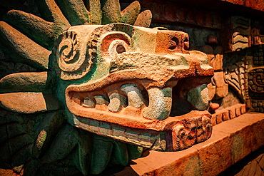 Detail, replica of 'Piramide de la serpiente emplumada', Pyramid of the Feathered Serpent, from Teotihuacan, National Museum of Anthropology. Mexico City. Mexico.