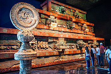Replica of 'Piramide de la serpiente emplumada', Pyramid of the Feathered Serpent, from Teotihuacan, National Museum of Anthropology. Mexico City. Mexico.