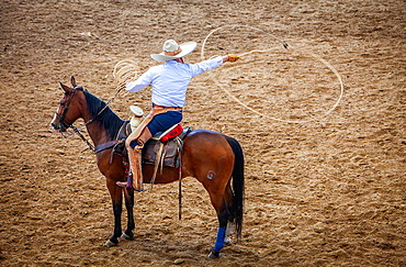 A charreada Mexican rodeo at the Lienzo Charro Zermeno, Guadalajara, Jalisco, Mexico.
