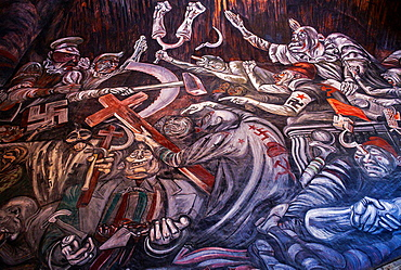 Detail of 'Hidalgo' mural painting by Jose Clemente Orozco over the main staircase of the Government Palace, Guadalajara. Jalisco, Mexico.