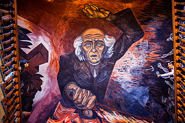Hidalgo' mural painting by Jose Clemente Orozco over the main staircase of the Government Palace, Guadalajara, Jalisco, Mexico.
