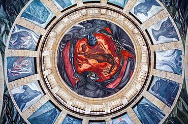 Hospicio Cabanas o Instituto Cultural Cabanas, Fresco by Orozco 'Hombre del Fuego', Guadalajara, Jalisco, Mexico.