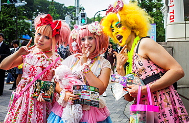 Young and eccentric trendy people in Takeshita Dori.Tokyo city, Japan, Asia.