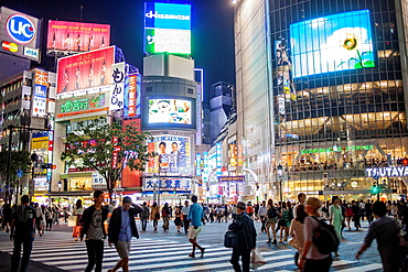 Shibuya.Scramble Kousaten crossing in Hachiko square. Tokyo city, Japan, Asia.