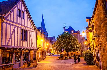 Place du Pilori, at left half timbered house, medieval city, Guerande, Loire-Atlantique, France.