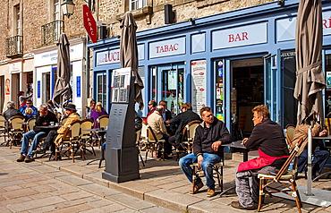 Outdoor cafe and creperie pancake house in Place Saint-Aubin, medieval city, Guerande, Loire-Atlantique, France.