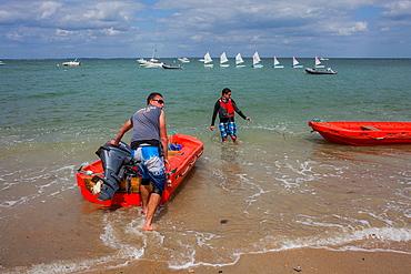 La plage des Sableaux, Le Bois de la Chaise. Island of Noirmoutier. Atlantic coast. Vendee province. France