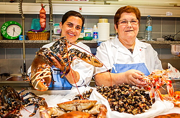 Seafood and fish in market, Coruna city, Galicia, Spain
