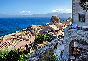 Looking across the old Byzantine town of Monemvasia, with the Maleas peninsula in the background, Lakonia, Southern Peloponnese, Greece.