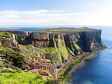 The cliffs of the island of Hoy near the Old Man of Hoy. europe, central europe, northern europe, united kingdom, great britain, scotland, northern isles,orkney islands, June.