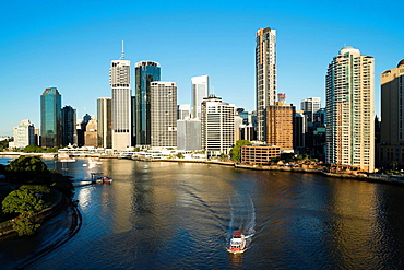 View of skyline of central business district of Brisbane in Queensland Australia.
