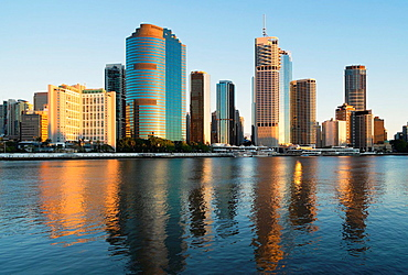 Sunrise view of skyline of central business district of Brisbane in Queensland Australia.