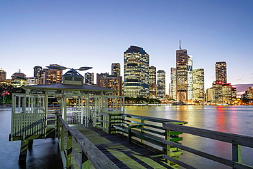 Night view of skyline of central business district of Brisbane in Queensland Australia.